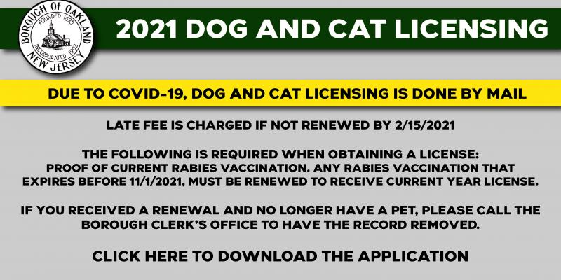Dog and Cat Licensing - 2021